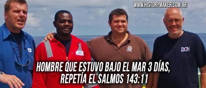 Hombre que estuvo bajo el mar 3 días, repetía el Salmos