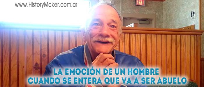 La emoción de un hombre cuando se entera que va a ser abuelo
