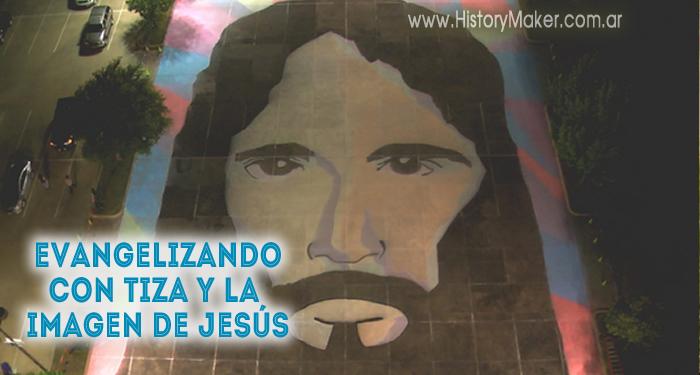 Evangelizando con tiza y la imagen de Jesús